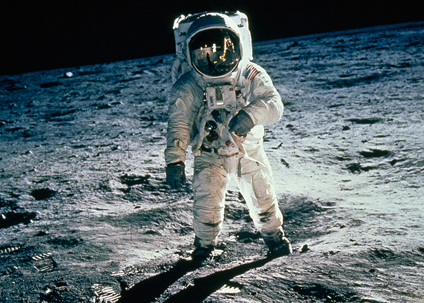 Armstrong walks on moon on July 20, 1969