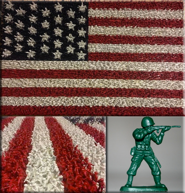 Man Spends 1 Year Creating 5-Foot-Long American Flag Out Of 10,000 Green Army Ment