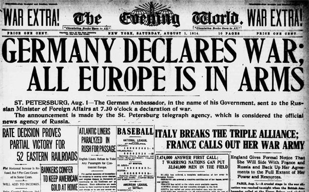 Germany and France declare war on each other on August 03, 1914