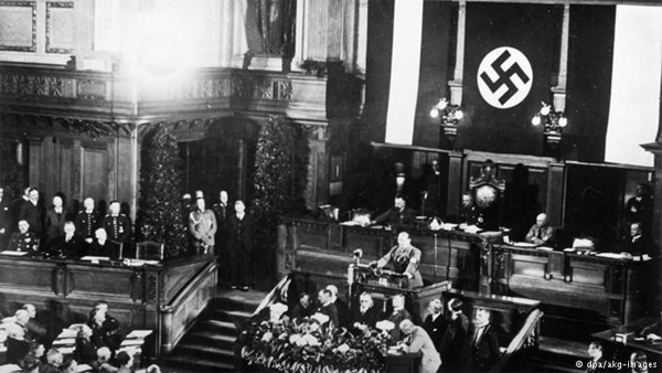 The Reichstag passes the Enabling Act of 1933, making Adolf Hitler dictator of Germany on March 23, 1933