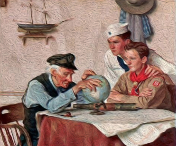 Understanding Military Terminology: Scout of Many Trails (Sea Scout and Boy Scout look at globe with old sailor) ~ Norman Rockwell