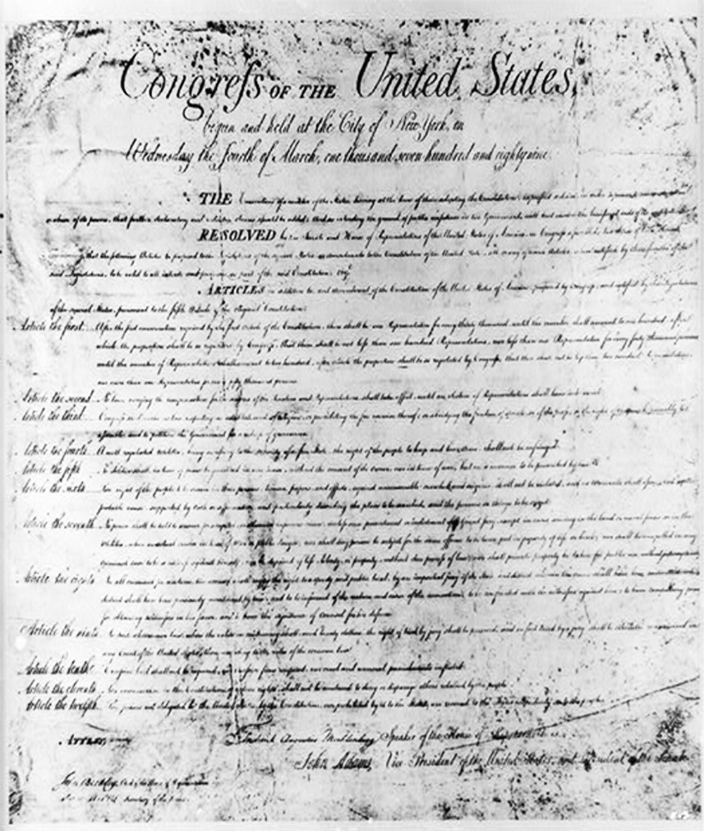 The Bill of Rights ratified on December 15, 1791