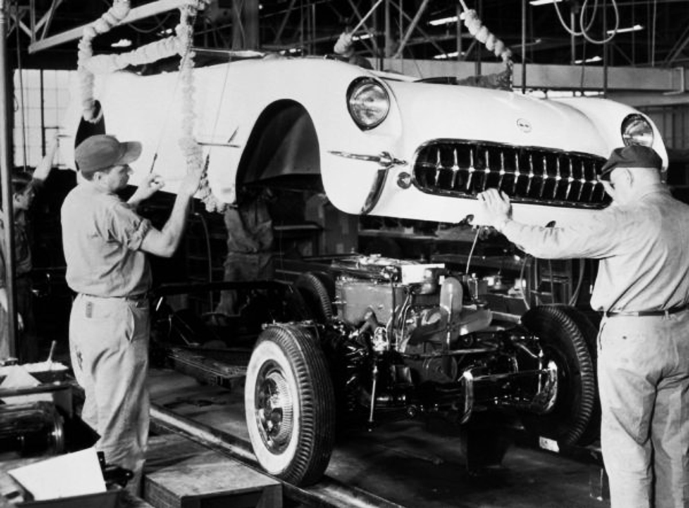 The first Chevrolet Corvette rolls off the assembly line in Flint, Michigan on June 30, 1953