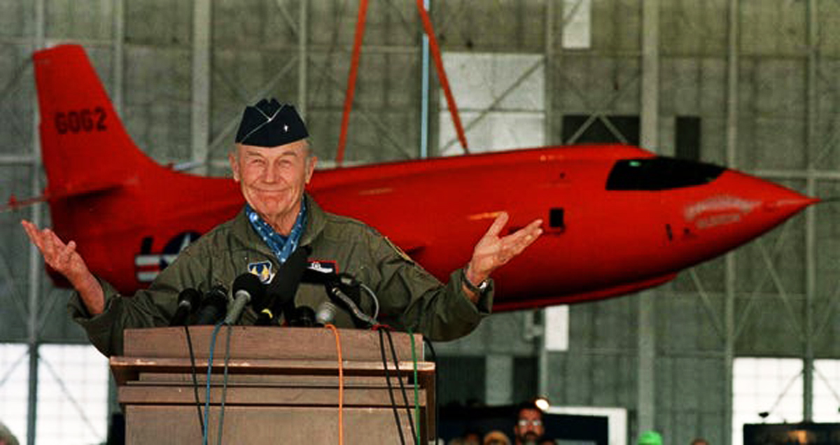 Chuck Yeager breaks the sound barrier on October 14, 1947
