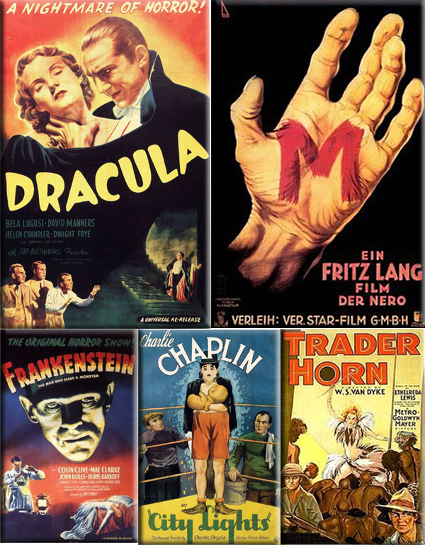 Most Popular Movies: 1931: Dracula, M, Frankenstein, City Lights and Trader Horn