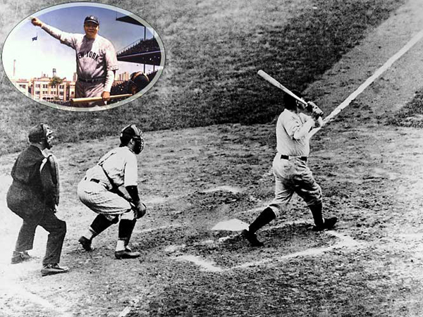 "New York Yankees defeats Chicago Cubs to win the 1932 World Series by 4 games to 0. In Game 3, Babe Ruth hits his famous ""called shot"" home run, which is followed immediately by a Lou Gehrig solo home run."