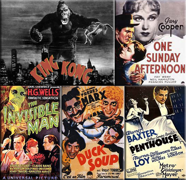 Most Popular Movies: 1933: King_Kong, L'Atalante, The Thin Man, The Scarlet Empress, Heat Lightning