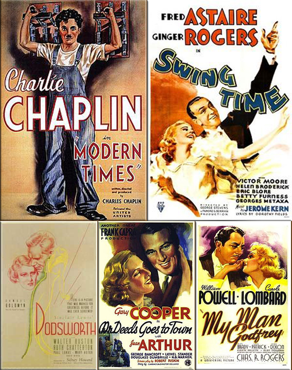 Most Popular Movies: 1936: Modern Times, Swing Time, Dodsworth, Mr. Deeds Goes to Town and My Man Godfrey