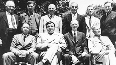 Ten Baseball Hall of Famers pose outside the museum in Cooperstown, June 12, 1939. Front row; Eddie Collins, Babe Ruth, Connie Mack, Cy Young. Back row: Honus Wagner, Grover Cleveland Alexander, Tris Speaker, Napoleon Lajoie, George Sisler and Walter Johnson