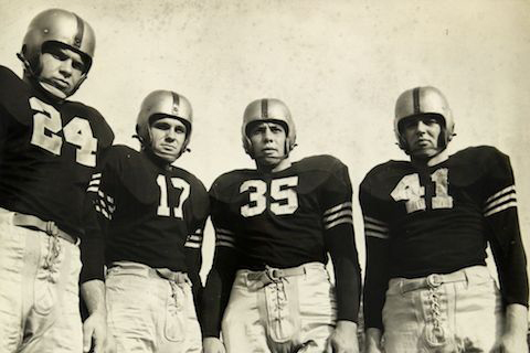 The Army Black Knight celebrated the end of Wold War II in 1945 by going 9-0 and claiming their second straight National Championship.