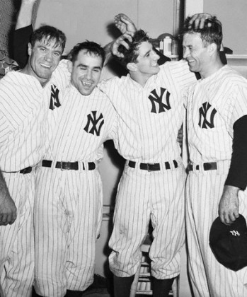 1953 World Series Against The Boys Of Summer - From left to right: Hank Bauer, Yogi Berra, Billy Martin, Joe Collins