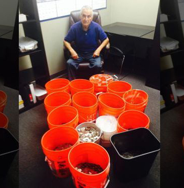 Insurer delivers bucketloads of coins to settle lawsuit by Los Angeles man