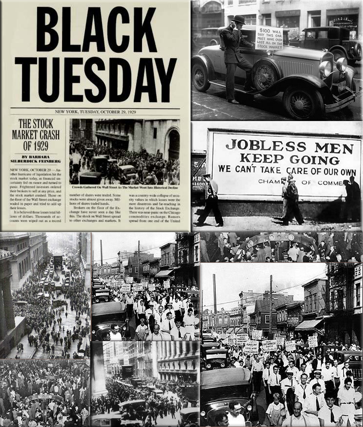 black tuesday 1929 Black tuesday, october 29, 1929, was when the djia fell 12 percent, one of the largest one-day drops in history, fueled by a panic selloff.