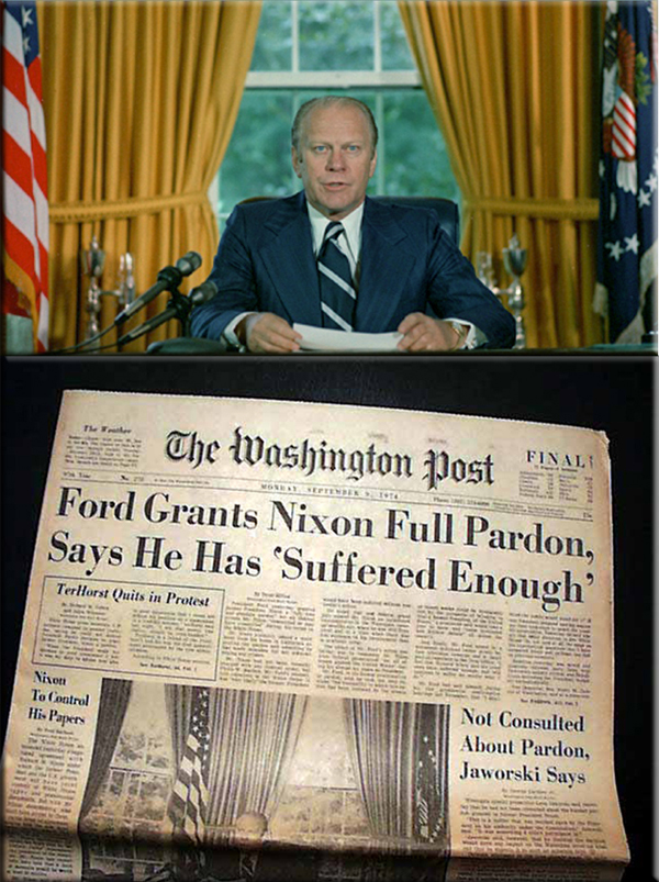 Ford pardons Nixon on September 8, 1974