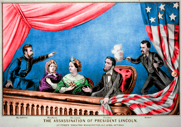 The Assassination of President Lincoln (Currier & Ives, 1865), from left to right: Major Henry Rathbone, Clara Harris, Mary Todd Lincoln, Abraham Lincoln, and John Wilkes Booth © (The Assassination of Abraham Lincoln - Colorized by Old Sailor's Almanac)