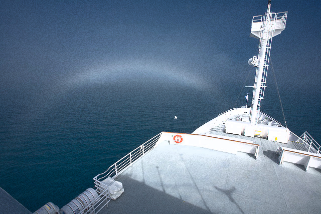 Evening fog bow on the MS National Geographic Endeavour on the Scotia Sea near South Georgia Island (John Montague, Flickr)