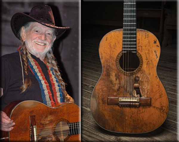 Why does the legend Willie Nelson keep playing an old beat up guitar with a big hole in it?