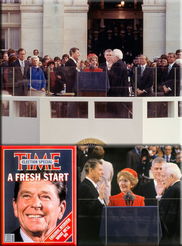 Ronald Reagan becomes president on January 20, 1981