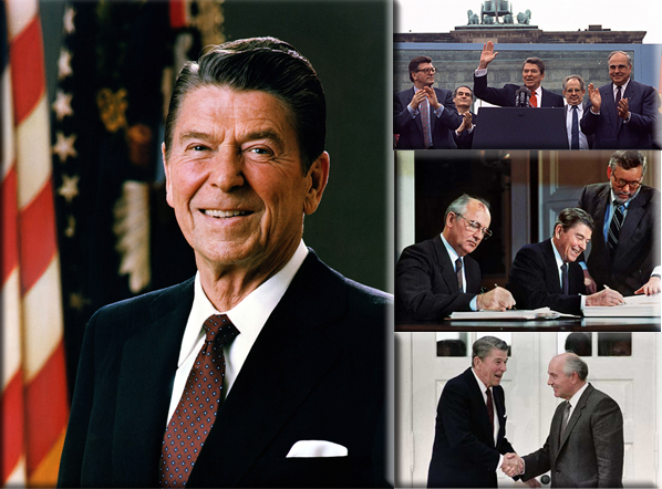 Reagan challenges Gorbachev to tear down the Berlin Wall; on June 12, 1987