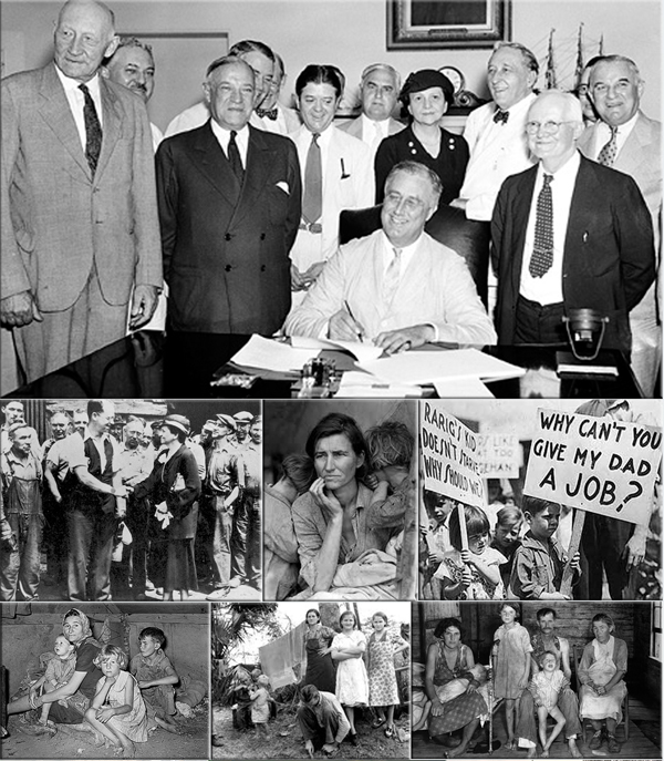 Franklin D. Roosevelt signs Social Security Act on August 14, 1935