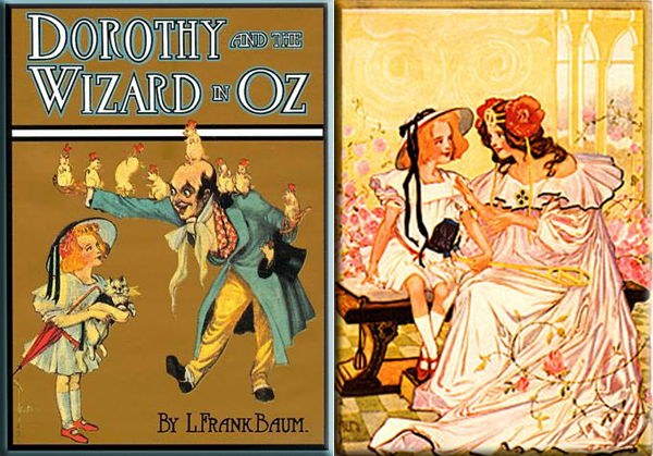 "Dorothy and the Wizard in Oz - First edition coverr / ""Dorothy and Ozma"", a watercolor plate from the book (1908)"