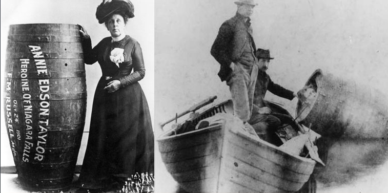 "Where Did That Saying Come From? ""Over a barrel"" On October 24, 1901 Annie Edson Taylor became the first confirmed person to go over Niagra Falls in a barrel on her 63rd birthday"