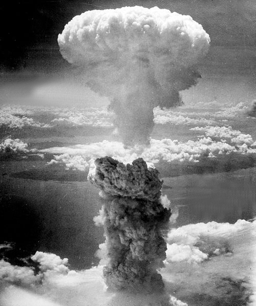 Mr. Answer Man Please Tell Us: Why does an atom bomb form a mushroom cloud? (The mushroom cloud of the atomic bombing of Nagasaki, Japan on August 9, 1945 rose some 18 kilometers (11 mi) above the bomb's hypocenter)