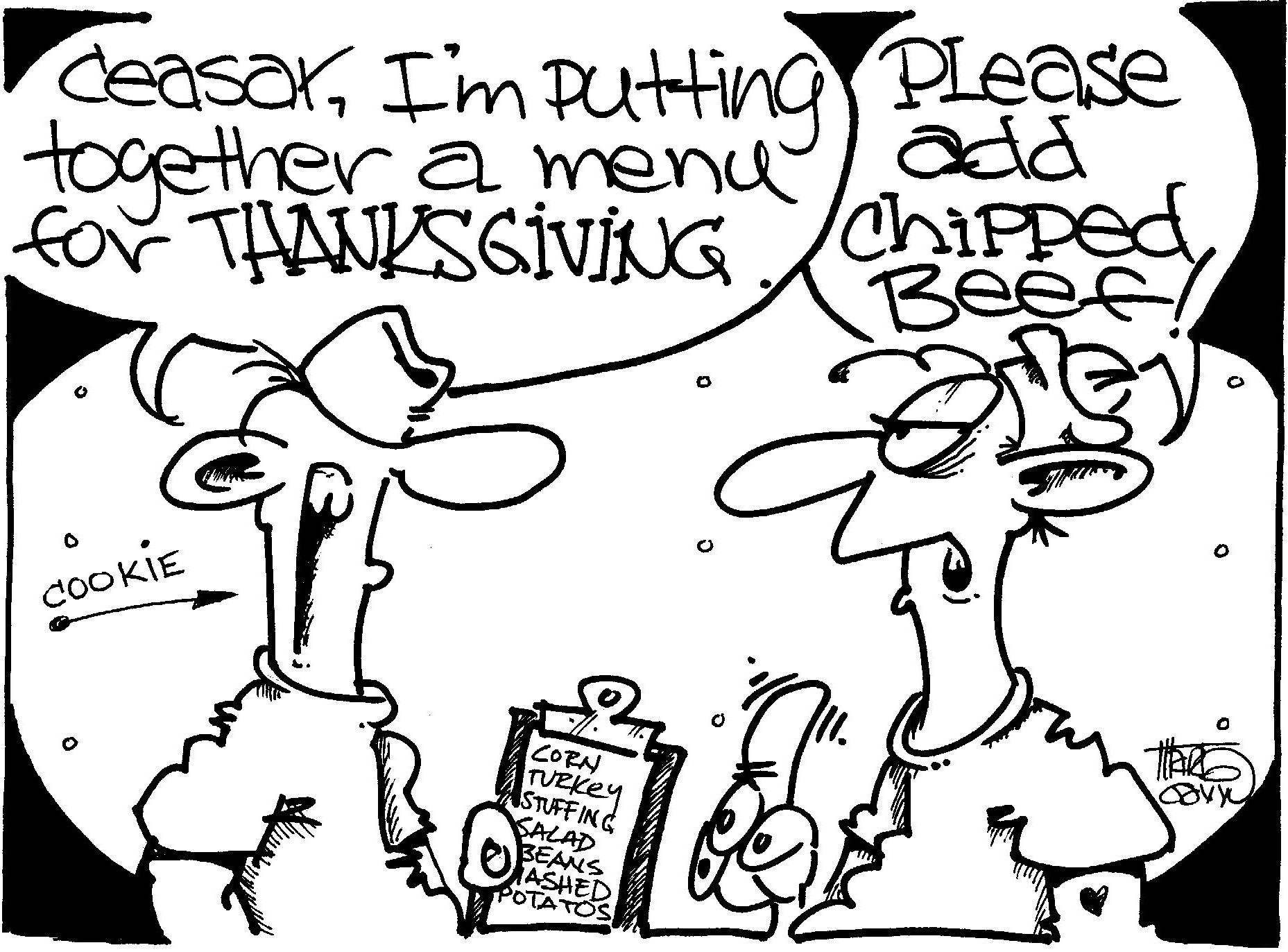 "Putting together the Thanksgiving menu ""© CEASAR CHOPPY"" by Marty Gavin"
